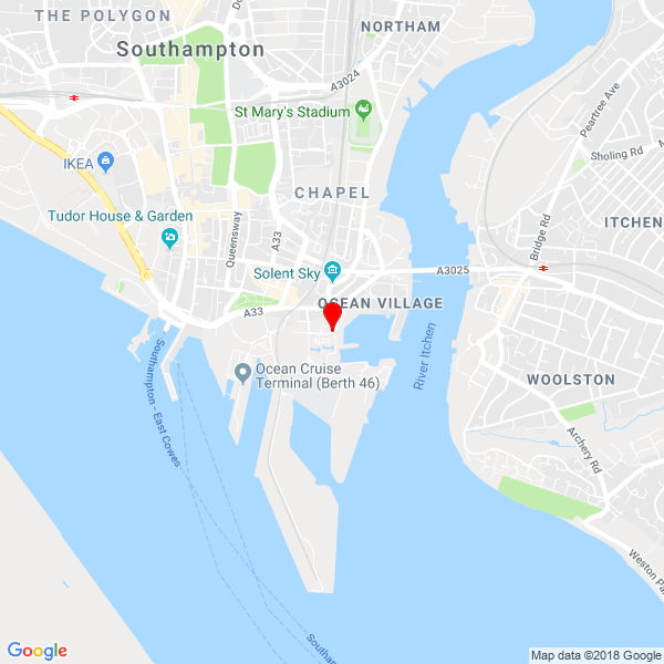 Google Map of Ocean Way, Ocean Village, Southampton